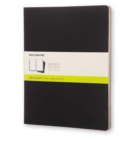 Picture of Moleskine Cahier Plain Journals 3pk Black XXLarge 21x27cm